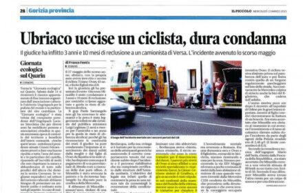 Travolto in bici da un camion: risarcimento danni Gorizia