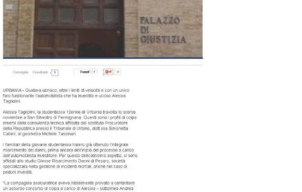 Bimba travolta a bordo strada: risarcimento pedone investito Pesaro