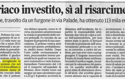 Pedone investito Bolzano risarcimento danni