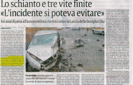 Incidente mortale Ragusa Catania risarcimento danni