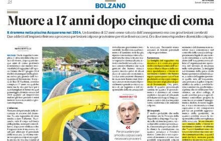 Incidente mortale piscina Bressanone