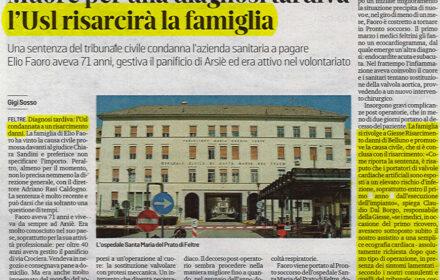 Diagnosi tardiva: condannato ospedale Belluno