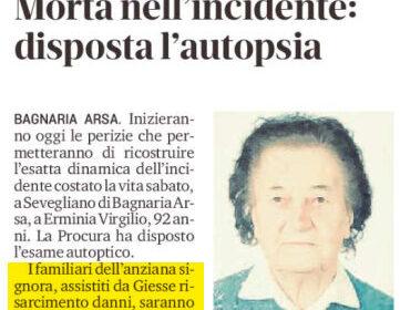 Pedone investito Udine: risarcimento danni