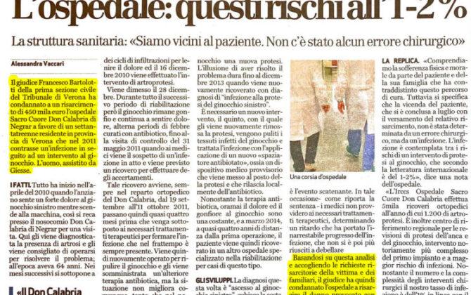 Infezione ospedaliera maxi risarcimento Verona