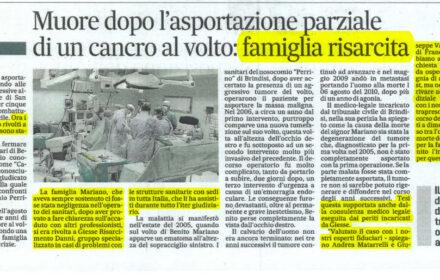 Tumore curato male: risarcimento danni errore medico ospedale Perrino Brindisi
