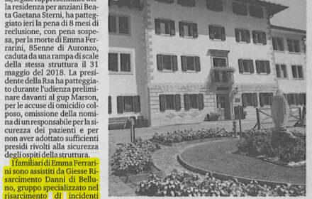Incidente scale casa di riposo Belluno: muore anziana