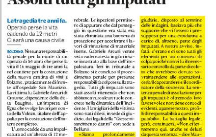 Incidente sul lavoro Bolzano risarcimento danni