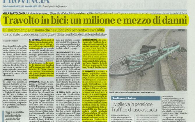 Maxi risarcimento incidente bicicletta Verona